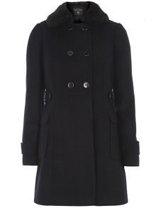 Dorothy Perkins Fur Collar Fit And Flare Coat