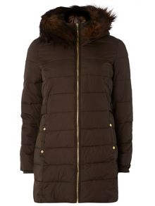 Dorothy Perkins Faux fur trim hooded longline puffa with front zi
