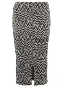 Zip Front Chevron Tube Skirt