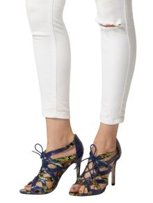 Snake Print Lace-Up Sandals