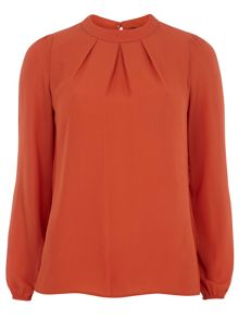High Neck Pleat Long Sleeve Top