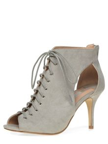 Lace Up Peep Toe High Boots