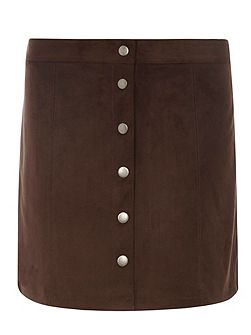 Suedette Button Mini Skirt