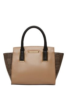 Grid Wing Tote Bag With Cross-body Strap