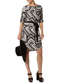 Graphic Tie Waist Shift Dress