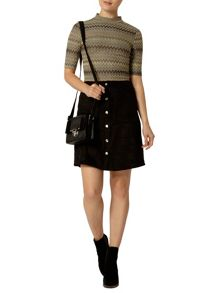 Suedette Popper Mini Skirt