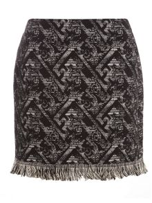 Jacquard Fray Hem Mini Skirt