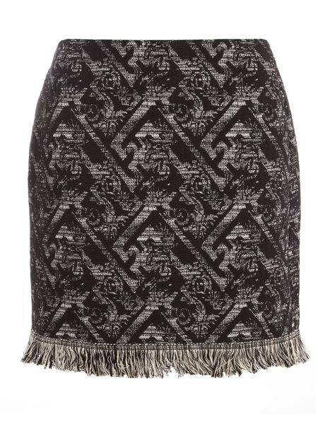 Dorothy Perkins Jacquard Fray Hem Mini Skirt