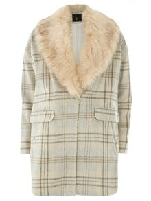 Dorothy Perkins Check Fur Collar Coat