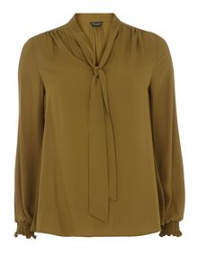 Olive Pussybow Blouse
