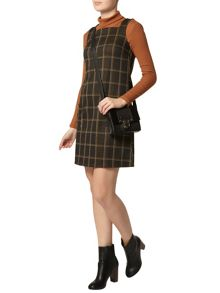 Check Pinny Fit And Flare Dress