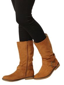 Buckle Detail Calf Boots