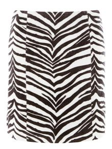 Dorothy Perkins Faux Pony Skin Zebra Skin Mini Skirt
