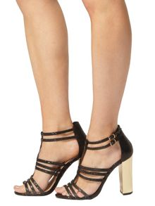 Saskia Snake Effect Strappy Sandals
