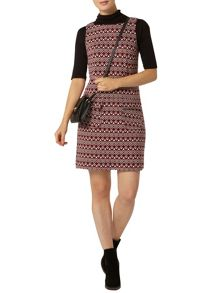 Geometric Print Pinafore Dress