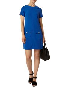 Button Pocket Shift Dress