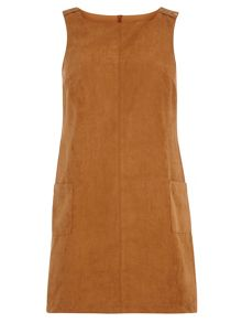 Petite Suedette Pinafore Dress
