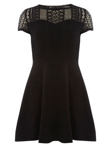 Lace Top Fit And Flare Dress