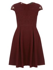 Burgundy Scallop Fit And Flare Dress