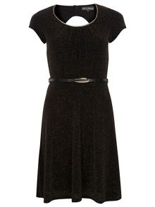 Dorothy Perkins Billie Black Label Metalic Flippy Dress