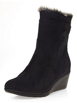 Brandy Suedette Wedge Boot Crepe Sole Mid Wedge
