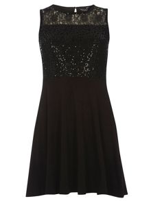 Sequin and Lace Skater Dress