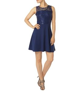 Dorothy Perkins Sequin and Lace Skater Dress
