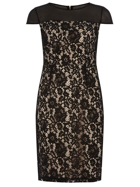 Dorothy Perkins Lace Yoke Pencil Dress