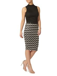 Dorothy Perkins Petite Zigzag Pencil Shimmer Skirt