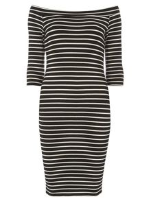 Dorothy Perkins Stripe Long Sleeve Bardot Dress
