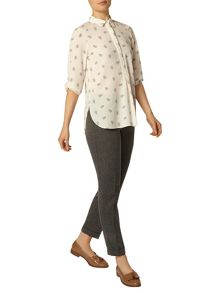 Dorothy Perkins Ivory Dotty Roll Sleeve Shirt