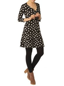 Jersey Wrap Dress In All Over Leopard Heart Print