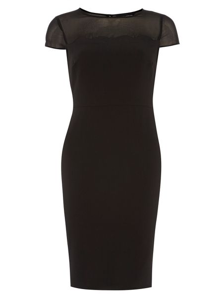 Dorothy Perkins Scallop Sheer Pencil Dress