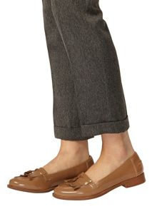 Taupe Lama Loafers With Fringe Detail