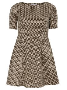 Petite Jacquard Fit and Flare Dress