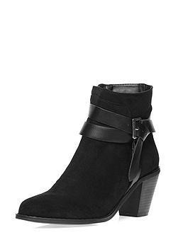 Suedette Heeled Buckle Boots