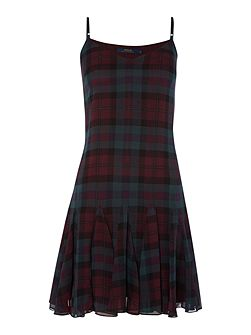 Tanija silk tartan strap dress