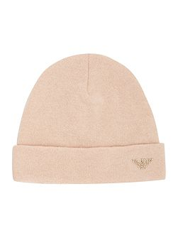 Girls Cashmere Blend Beanie With Embellished Eagl