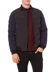 Zip Up Ribbed Collar Quilted Jacket
