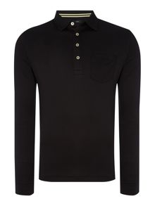 Slim fit long sleeve pocket polo shirt