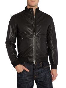 Funnel neck leather bomber jacket