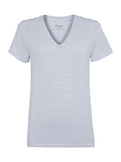 Linea Weekend V Neck Mini Stripe Tee Top