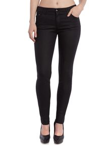Armani Jeans J28 Mid rise skinny coated jean in black