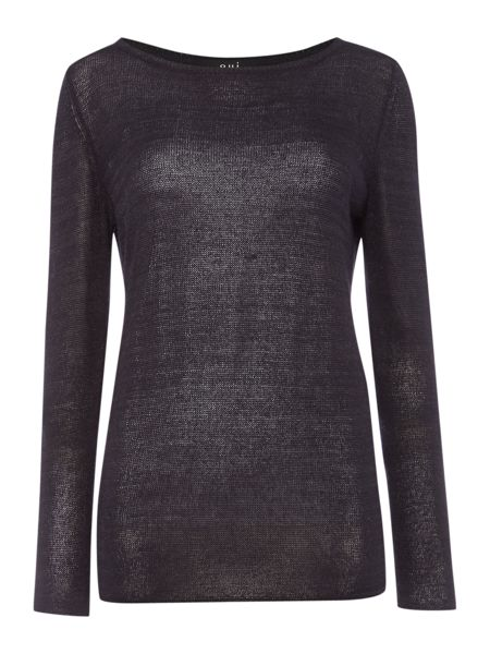 Oui Long sleeve sparkle light weight knit