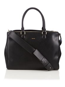 Black large double zip tote