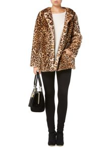 Biba Leopard soft faux fur collarless coat