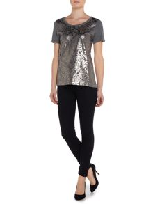 Foil overlay knitted top