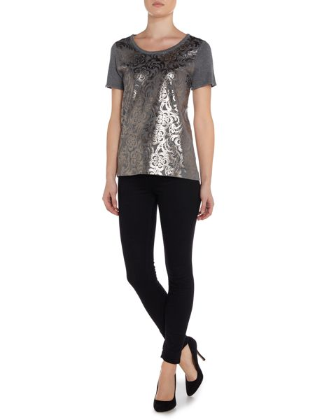 Linea Foil overlay knitted top
