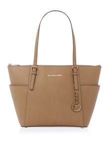 Jetset Travel taupe zip top tote bag
