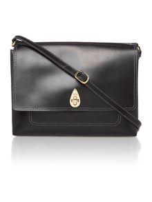 Saddle black small flap over cross body bag